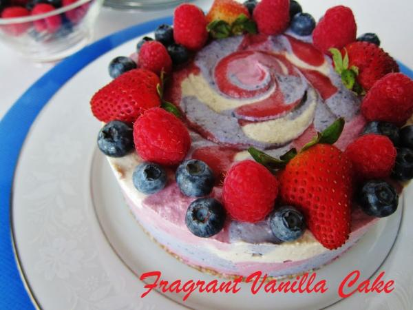 Raw Red White and Blue Dream Cake