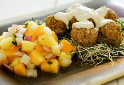 Falafels with Mango Pineapple Salsa by Susan Powers