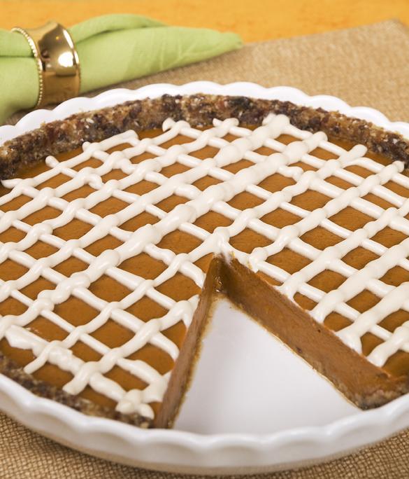 Pumpkin Pie with Graham Crust and Vanilla Cashew Cream