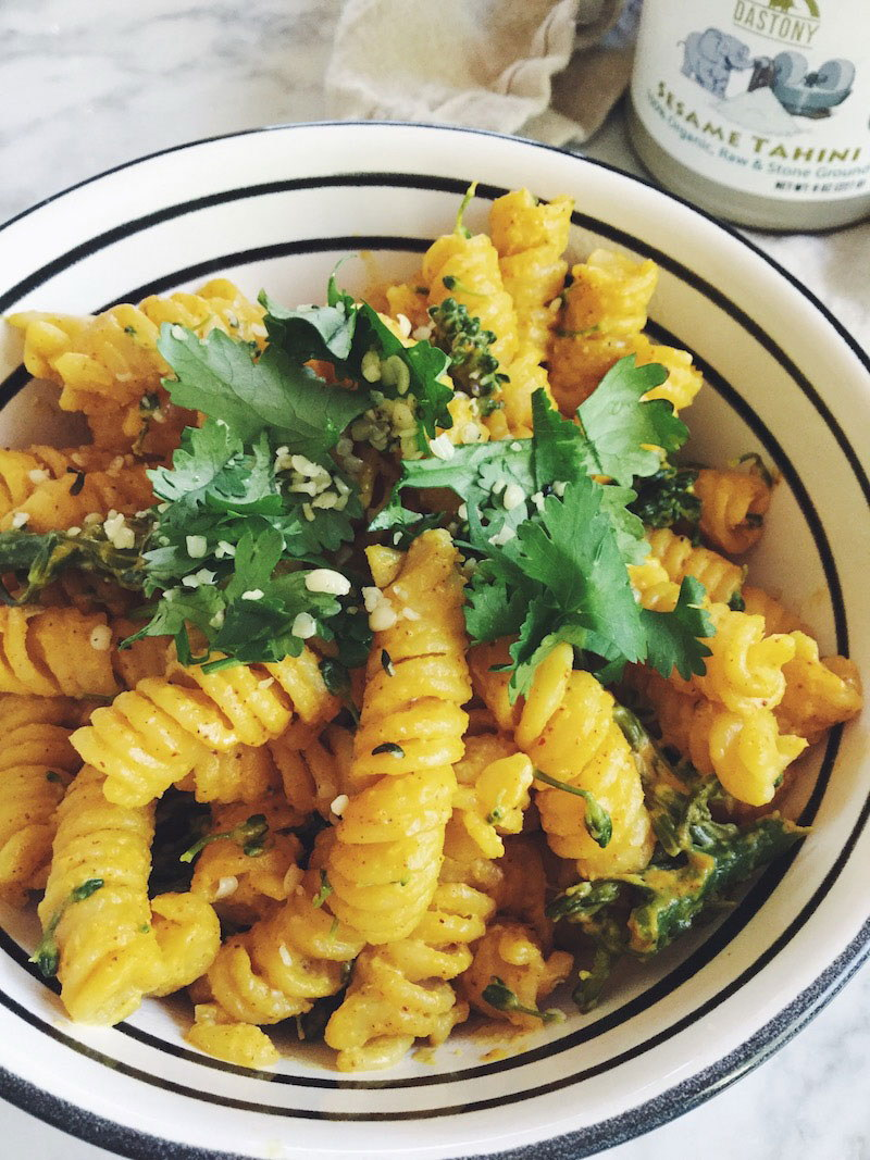Quinoa Pasta with Broccoli and Smokey Tahini Cheeze Sauce