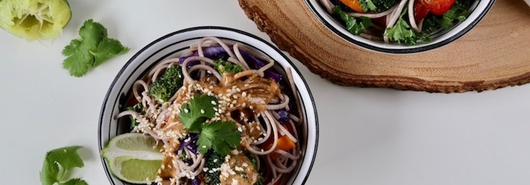 Buckwheat Soba Salad with Spicy-Sweet Chipotle Lime Sprouted Almond Sauce