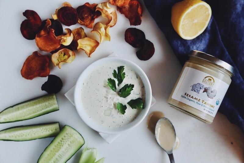 Raw Vegan Tahini Sour Cream and Onion Dip