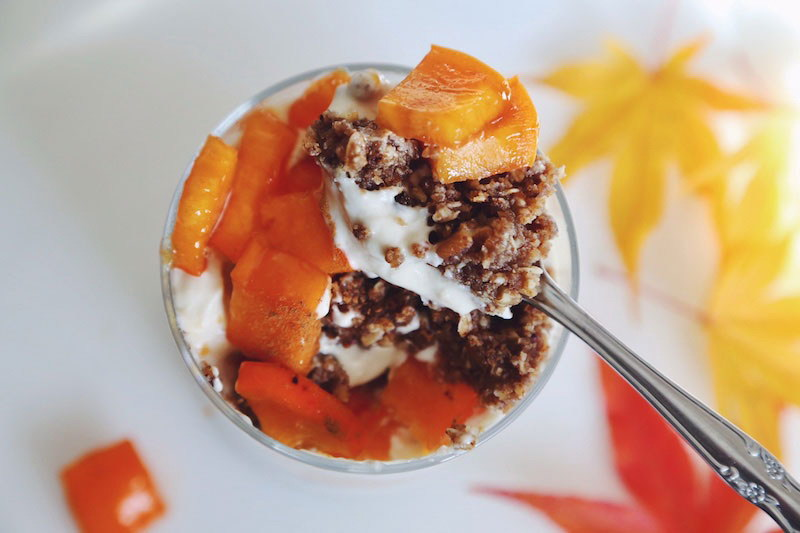Persimmon Parfaits with Lemon Custard and Rawmio Crunch Crumble