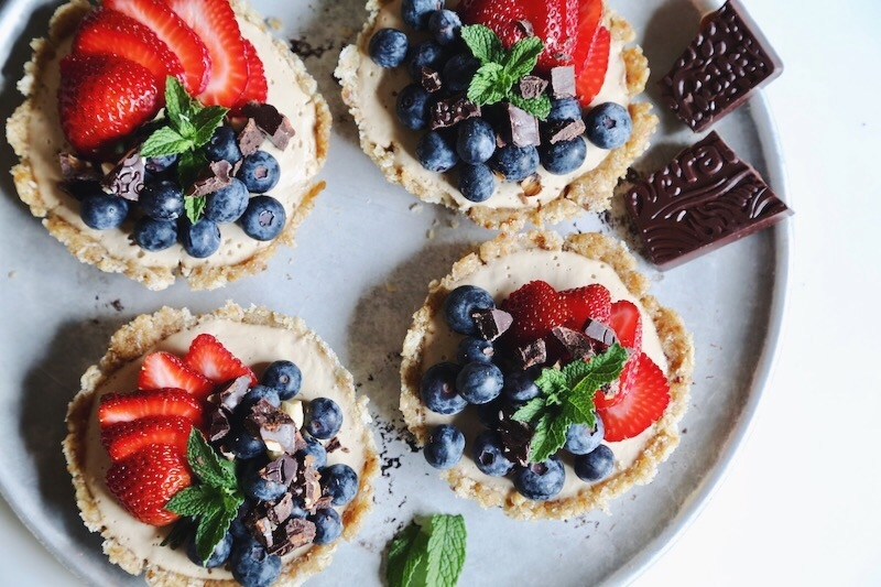 Coconut Caramel Cream Mixed Berry Tarts