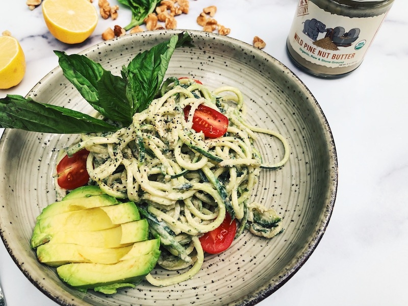 Vegan Zoodles with Creamy Pine Nut Butter Pesto (raw, paleo, keto-friendly)