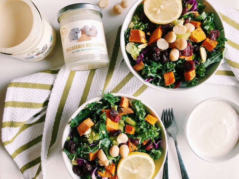 Gratitude Salad with Tahini Macadamia Dressing