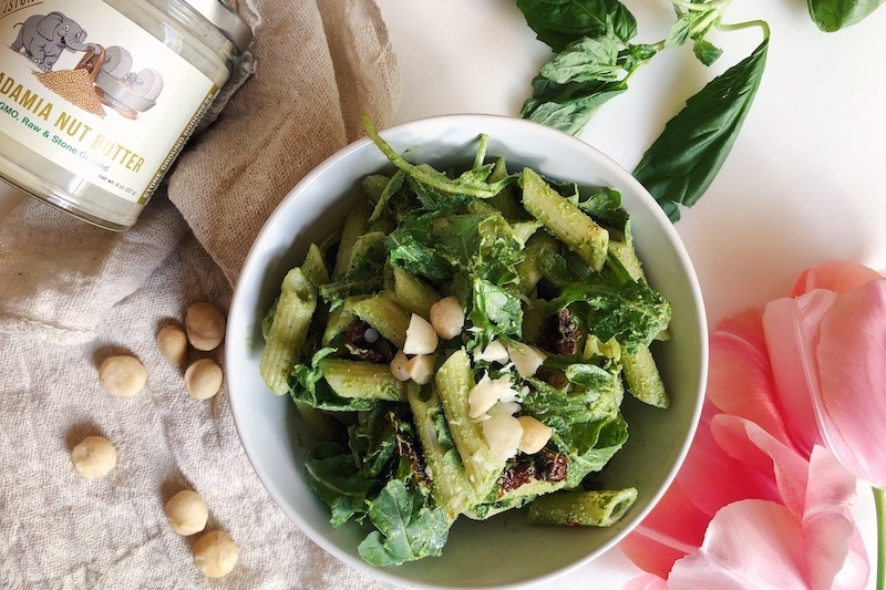 Vegan Macadamia Nut Pesto Pasta with Arugula and Sun-dried Tomatoes