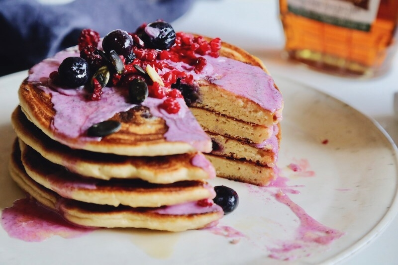 Fluffy Almond and Cassava Flour Blueberry Paleo Pancakes