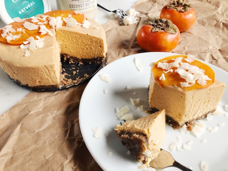 Festive Raw Vegan Persimmon Lemon Cheesecake