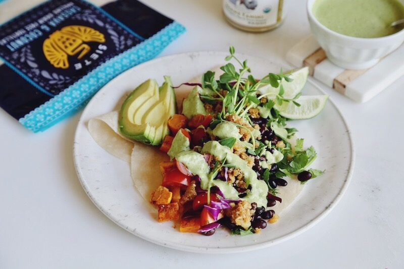 The Ultimate Plant Based Tacos with Tangy-Sweet Cilantro Tahini Lime Sauce