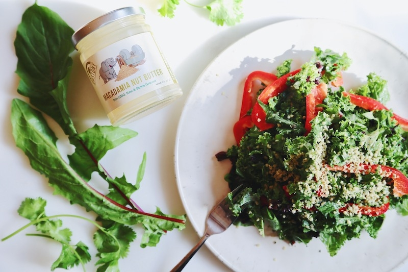 Blood Cleansing Remineralizing Kale Salad with Macadamia Butter Dressing