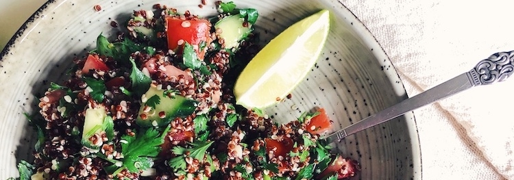 Red Quinoa Salad with Fresh Tahini Dressing